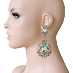 35-Long-Victorian-Style-Clip-On-Earrings-AB-RhinestonesDrag-QueenPageant-172706389609