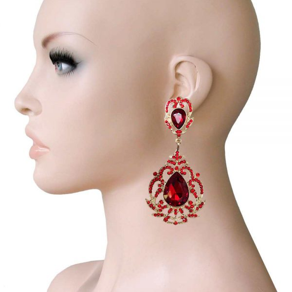 "3.5"" Long Victorian Style Clip On Earrings, Red Rhinestones,Drag Queen,Pageant"