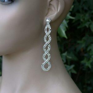 375-Long-Lightweight-Clear-Rhinestoness-Post-Earrings-Pageant-Bridal-361655971979