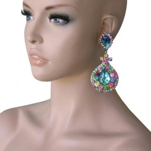 4-Long-Pool-Blue-Multicolor-RhinestonesClip-On-earringsPageantDrag-Queen-362018007819