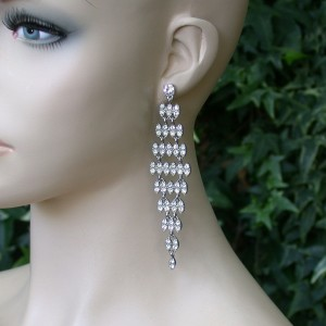 425-Long-Linear-Earrings-Moving-Joints-Clear-Rhinestones-Bridal-Pageant-172181267879