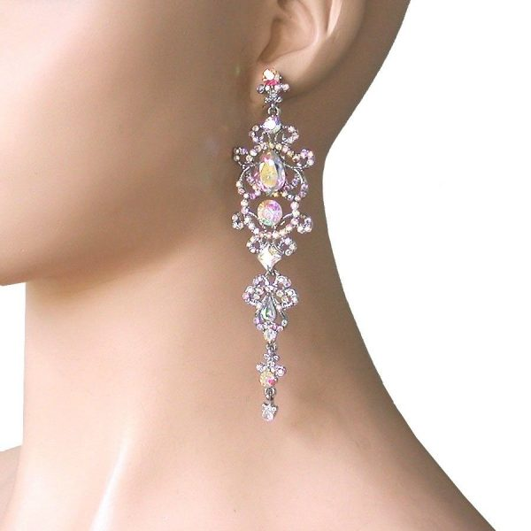 """4.5"""" Long, Classy Aurora Borealis Crystal earrings, Pageant, Drag Queen"""