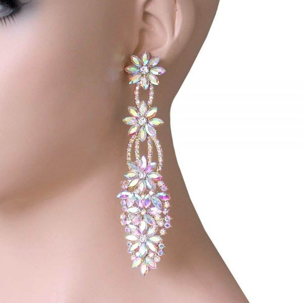 "4.5"" Long Evening Earrings, Aurora Boreal Rhinestones, Bridal,Pageant,Drag Queen"