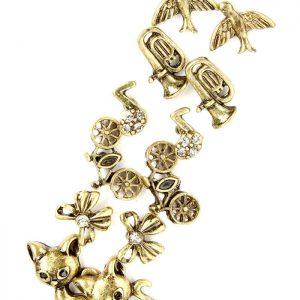 6-Pairs-Stud-Earrings-Musical-Note-Symbol-Bike-Animal-Themed-Cat-Dove-172854879039