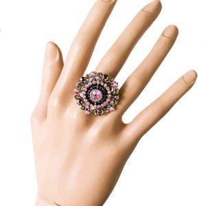 Adjustable-Mandala-Ring-By-Anne-Koplik-Light-Rose-Olive-Crystals-MADE-IN-USA-361835719829
