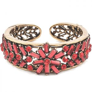 Antique-Gold-ToneShades-of-Red-Crystals-Glass-Stretch-Cuff-Bracelet-361560139749