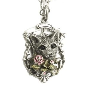 Antique-Silver-Tone-Cat-Pendant-Necklace-By-Sweet-Romance-Made-in-USA-172513960959