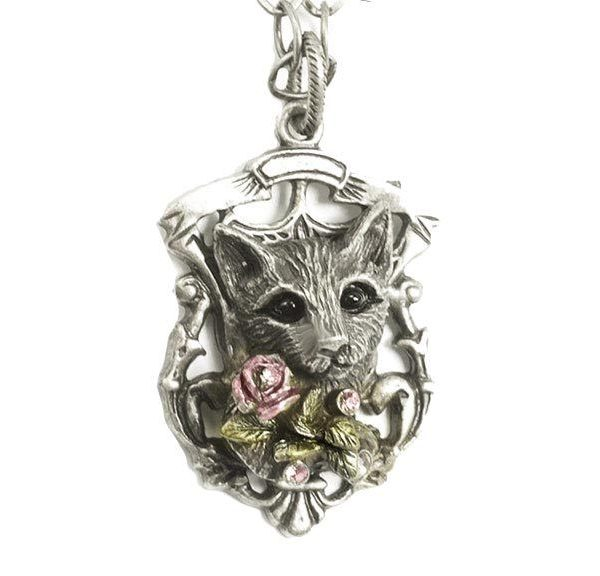 Antique Silver Tone Cat Pendant Necklace By Sweet Romance, Made in USA