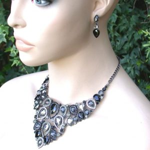 Black-Bib-Necklace-Earrings-Set-Rhinestones-Clear-Crystal-Pageant-Bridal-361901317739