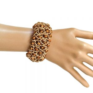 Bronze-Czech-Glass-Faceted-Beads-Gold-Tone-Stretch-Bangle-Bracelet-By-INC-362073509139