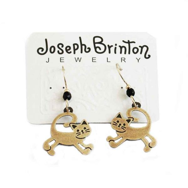 Cat Earrings By Joseph Brinton Hypoallergenic 14 K Ear Wires Made in USA