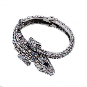 Crocodile-Aurora-Borealis-Rhinestones-Statement-Bangle-BraceletPageant-Bridal-172130982859