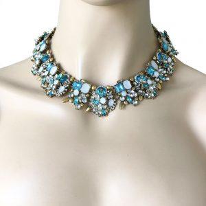 Designer-Inspired-Cleopatra-Necklace-Aqua-Blue-Rhinestones-Drag-Queen-Pageant-361986252189