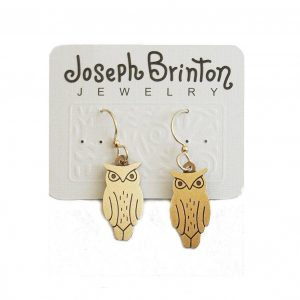 Golden-Owl-Earrings-By-Joseph-Brinton-Hypoallergenic-14K-Wires-Made-in-USA-361994781259