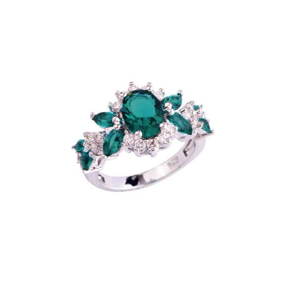 Lab Created Green Topaz Engagement Ring Stamped 925 Sterling Silver Sizes 7,8