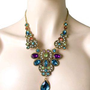 Multicolor-Rhinestones-Antique-Gold-Tone-European-Style-Statement-Bib-Necklace-172867568719