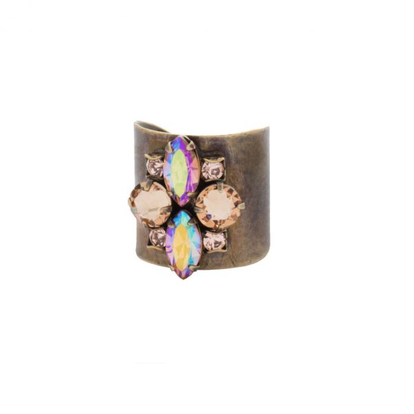 """Neutral Territory Collection, 0.75"""" Wide Nude Crystal Cuff Ring By Sorrelli,"""