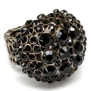 Round-Half-Ball-Stretch-Ring-Black-Crystals-Sizable-Drag-Queen-Pageant-361869872759