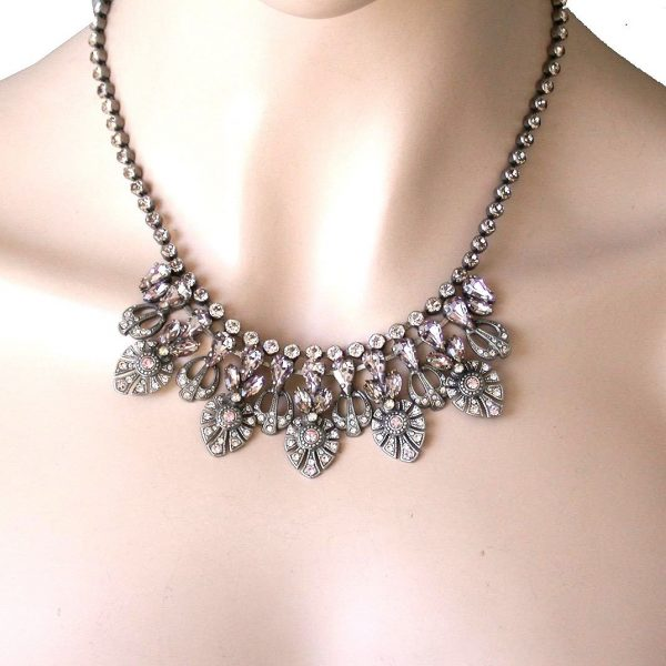 Satin Blush Collection Neutral Rose Pink Crystals Evening Necklace By Sorrelli