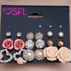 Set-of-9-Pairs-Post-Earrings-Salmon-Peach-Faux-Pearl-Rhinestones-Bridal-171957552179