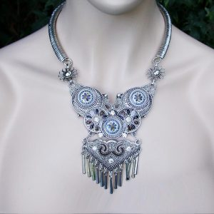 Silver-Tone-Statement-Bib-Necklace-Rhinestones-Formica-Turkish-Style-172120534189