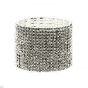 Silver-Tonel-2-W-Clear-Crystals-Stretch-Evening-Bracelet-Pageant-Bridal-361885294079