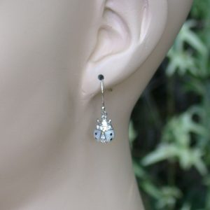 Small-925-Sterling-Silver-White-Lady-Bug-Earrings-With-Clear-Crystals-361460127889