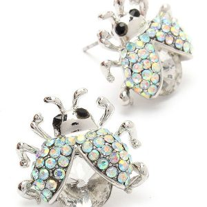 Small-Lady-Bug-Post-Stud-Earrrings-Aurora-Borealis-Crystals-Clear-Glass-172208245719