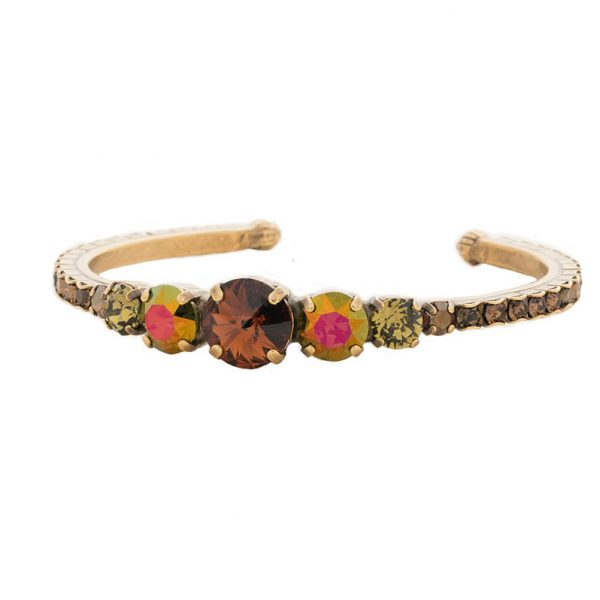 Tapestry Collection Brown Olive & Iridescent Crystal Cuff Bracelet By Sorrelli