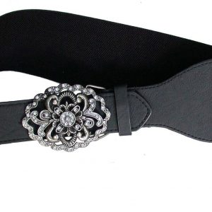 Vegan-Black-Belt-Filigree-Buckle-Faux-Leather-Elastic-Size-L-XL-By-Lulu-172183206499