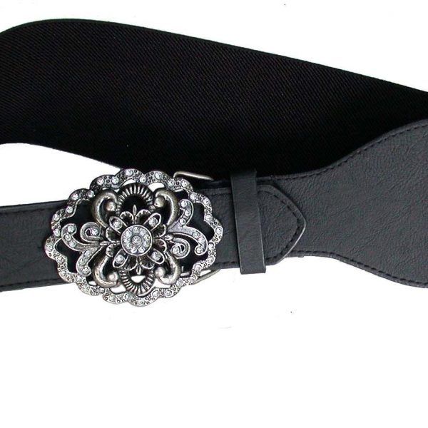 Vegan Black Belt, Filigree Buckle, Faux Leather & Elastic, Size L, XL, By Lulu