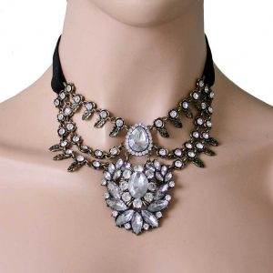 Victorian-Inspired-Clear-Lucite-Cluster-Choker-Necklace-Faux-Suede-Vegan-361777043069