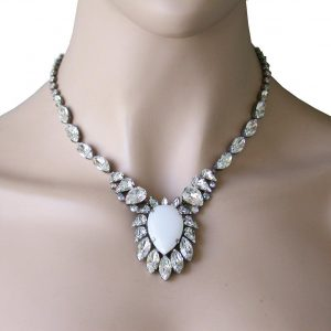White-Bridal-Collection-Cabochon-Necklace-By-Sorrelli-Simulated-Opal-Crystal-361693497599